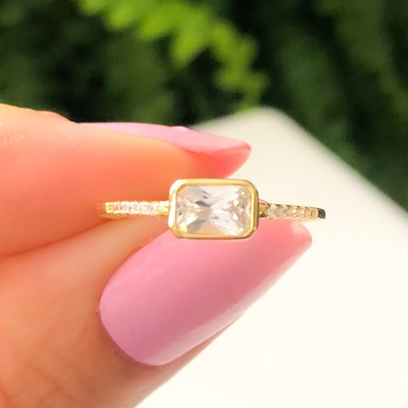 Sideways Emerald Cut Ring (Gold & Silver)