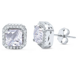 Princess Cut Halo Earrings