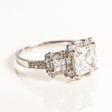 1.28 Carat Princess Cut Halo Engagement Ring (Gold and Silver)