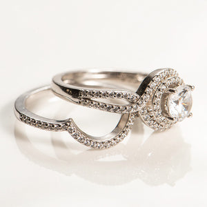 1 Carat Halo Infinity Wedding Set