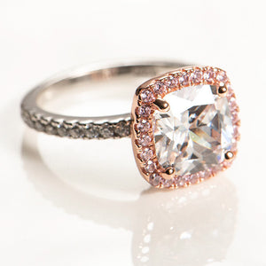 2.75 Carat Two Tone Cushion Cut Ring