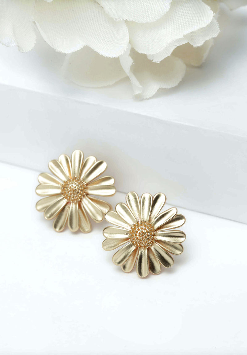 Avant-Garde Paris Gold Floral Stud Earrings