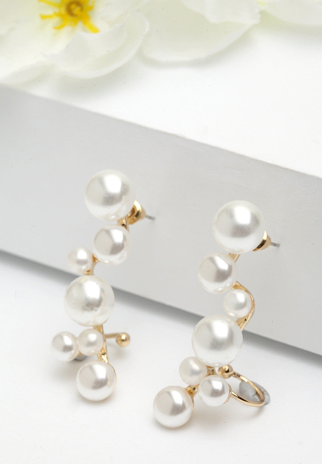 Avant-Garde Paris Assymetrical Pearl Drop Earrings