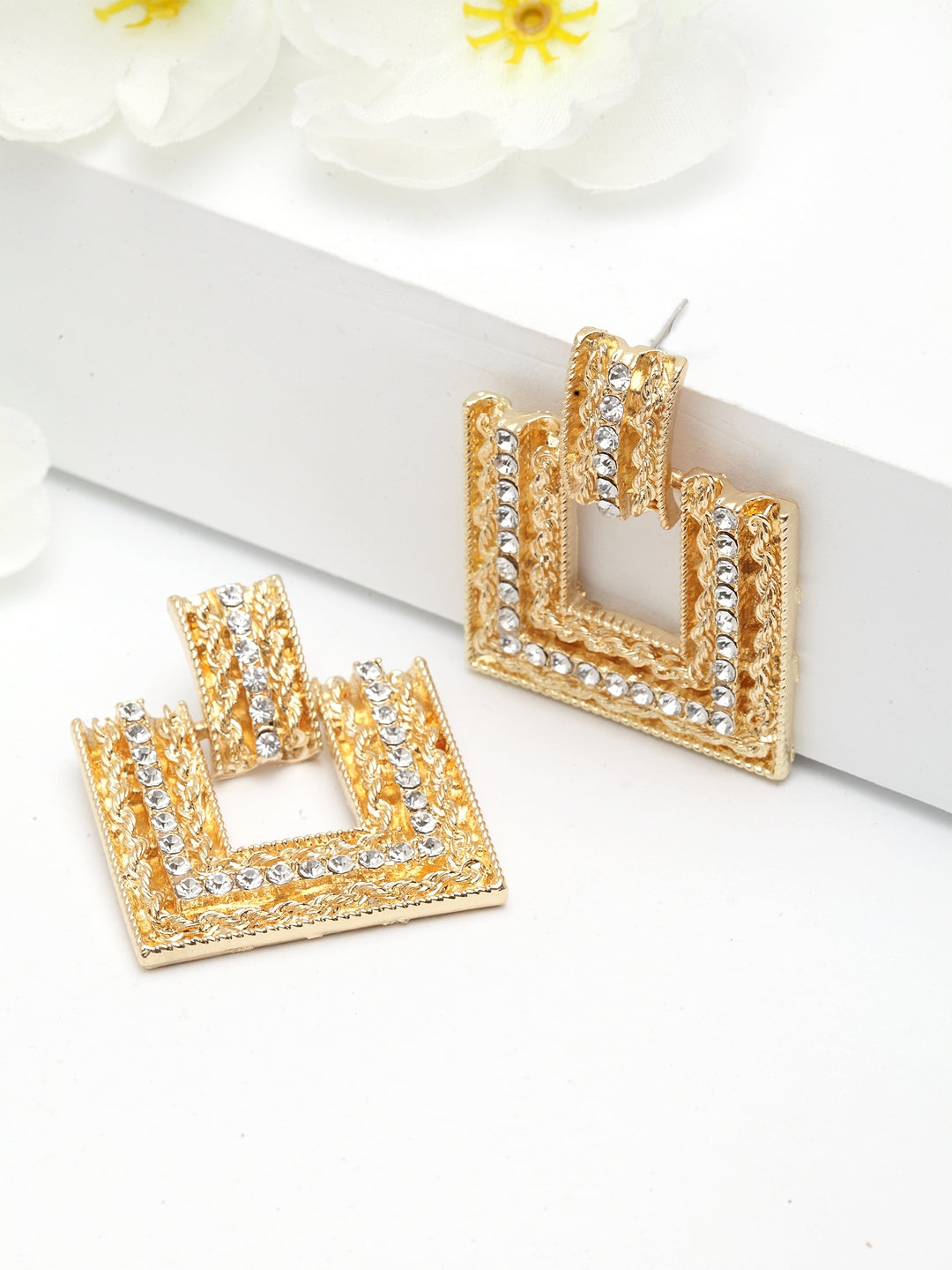 Avant-Garde Paris Geometrical Crystal Earrings