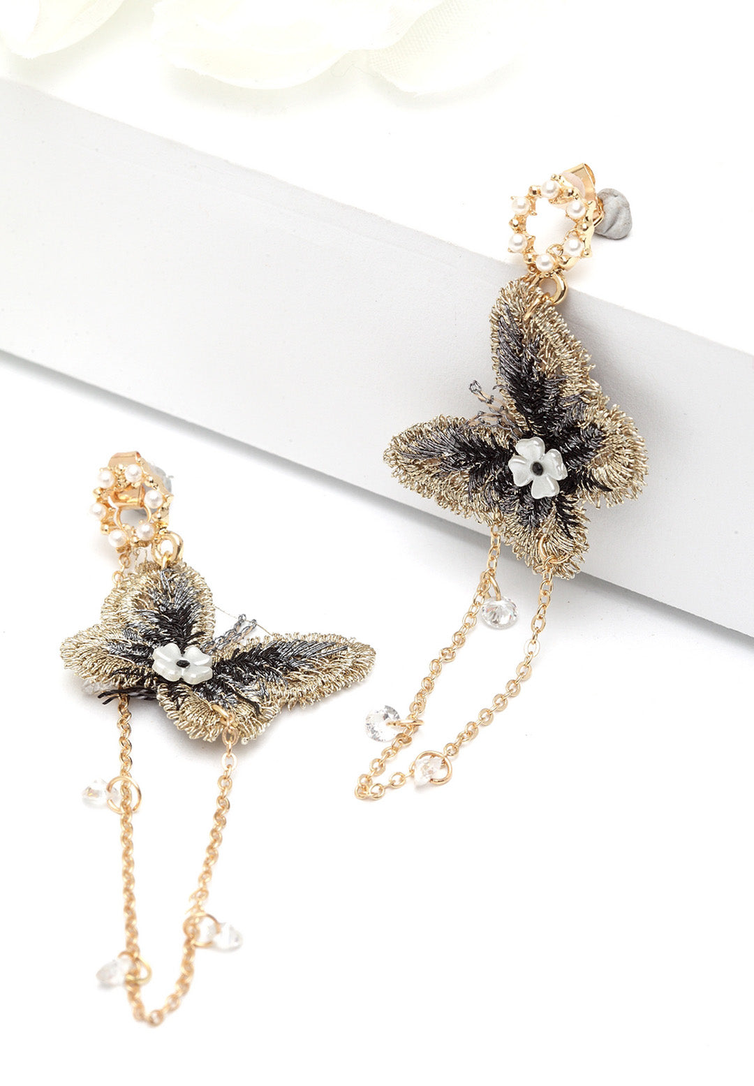 Avant-Garde Paris Quirky Crystal Butterfly Earrings
