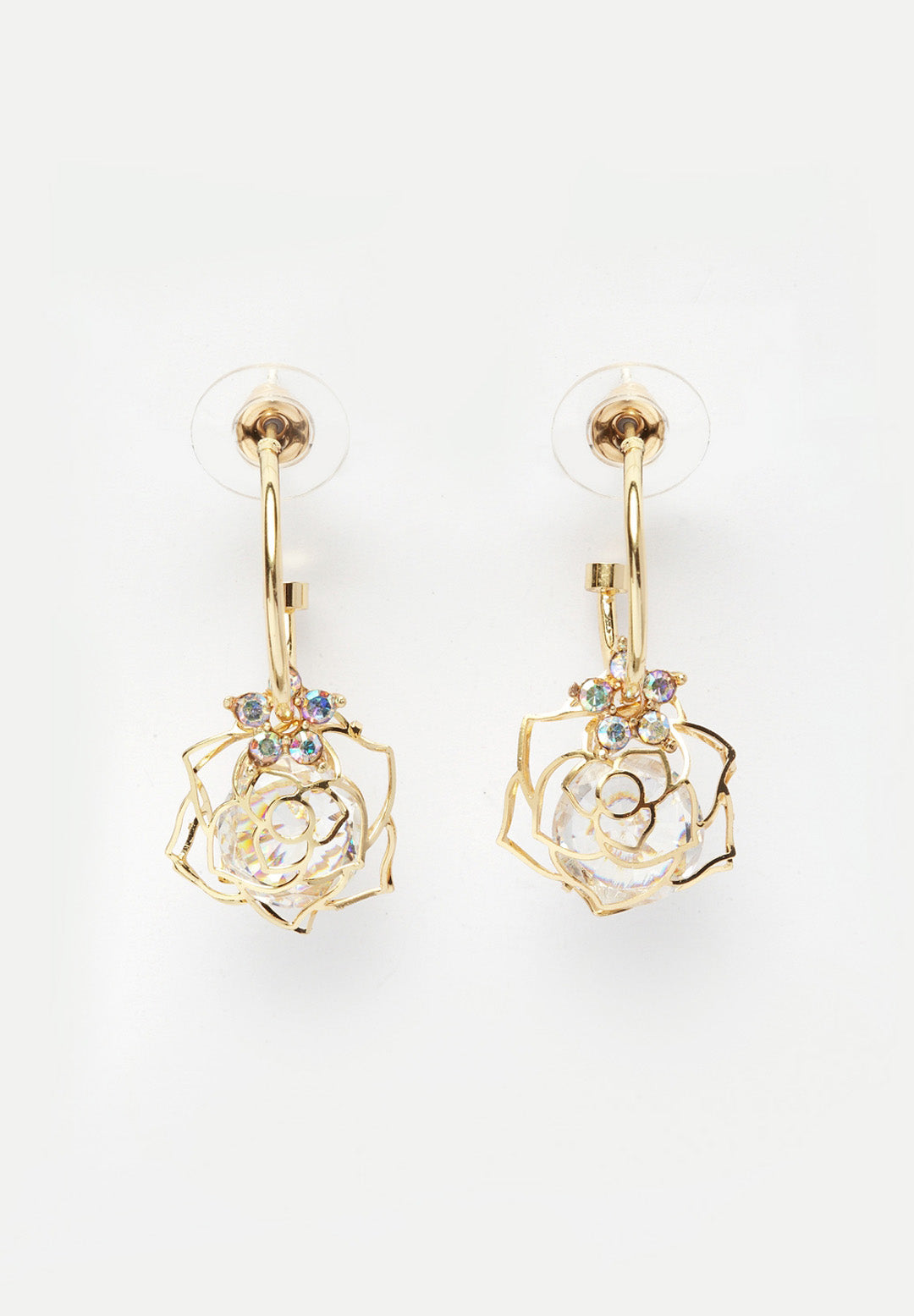 Avant-Garde Paris Sleek Gold-Plated Rose Earrings