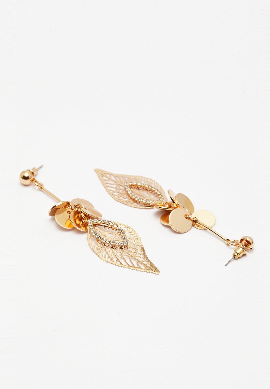 Avant-Garde Paris Quirky Gold-Plated Feather Drop Earrings