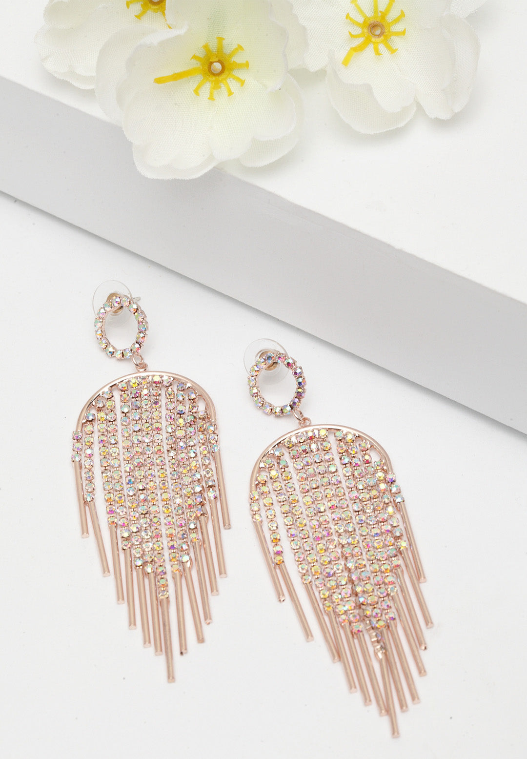 Avant-Garde Paris Sleek And Plush Crystal Dangling Earrings