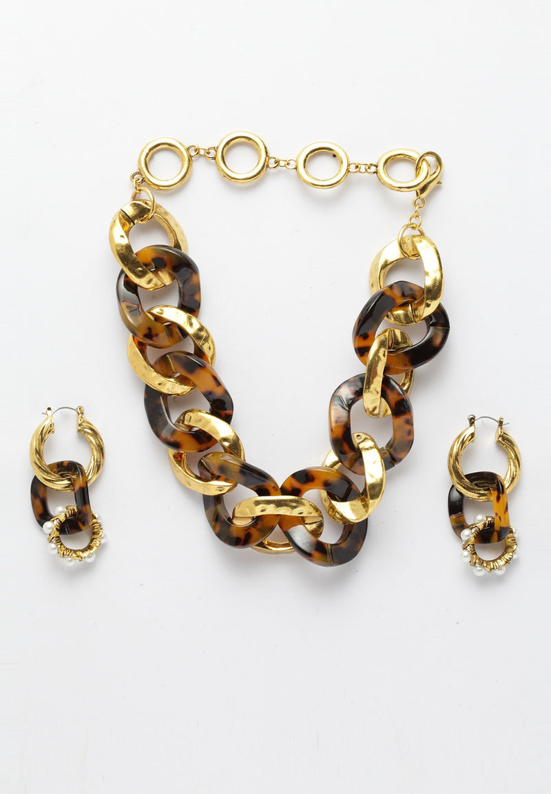 Avant-Garde Paris Statement Vintage Bronze Gold Chunky Choker Necklace and Earrings Set