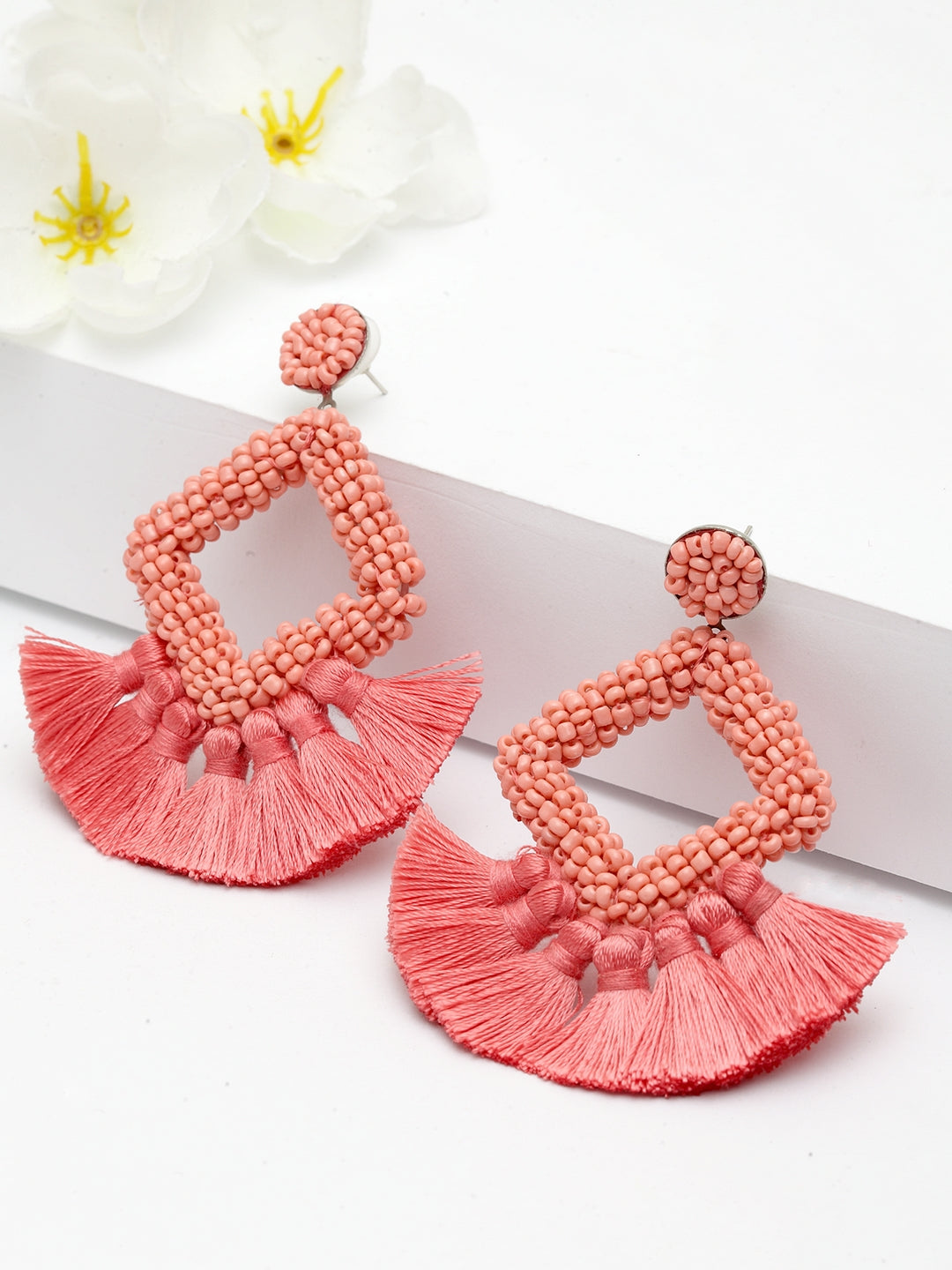 Avant-Garde Paris Geometric Beaded Tassel Earrings