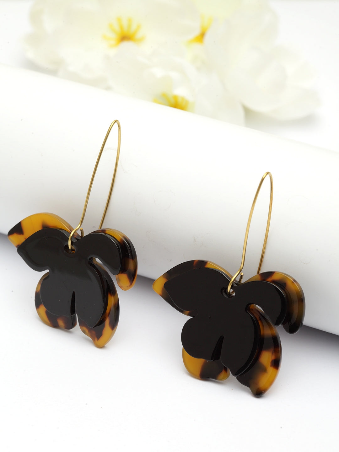 Avant-Garde Paris Statement Vintage Acrylic Resin Leaf Earrings