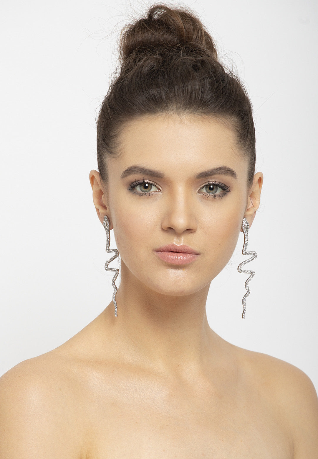 Avant-Garde Paris Sleek Serpent Crystal Earrings