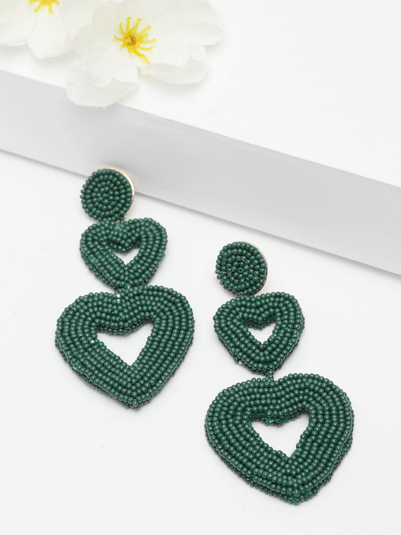 Avant-Garde Paris Heart Beaded Dangle Drop Earrings