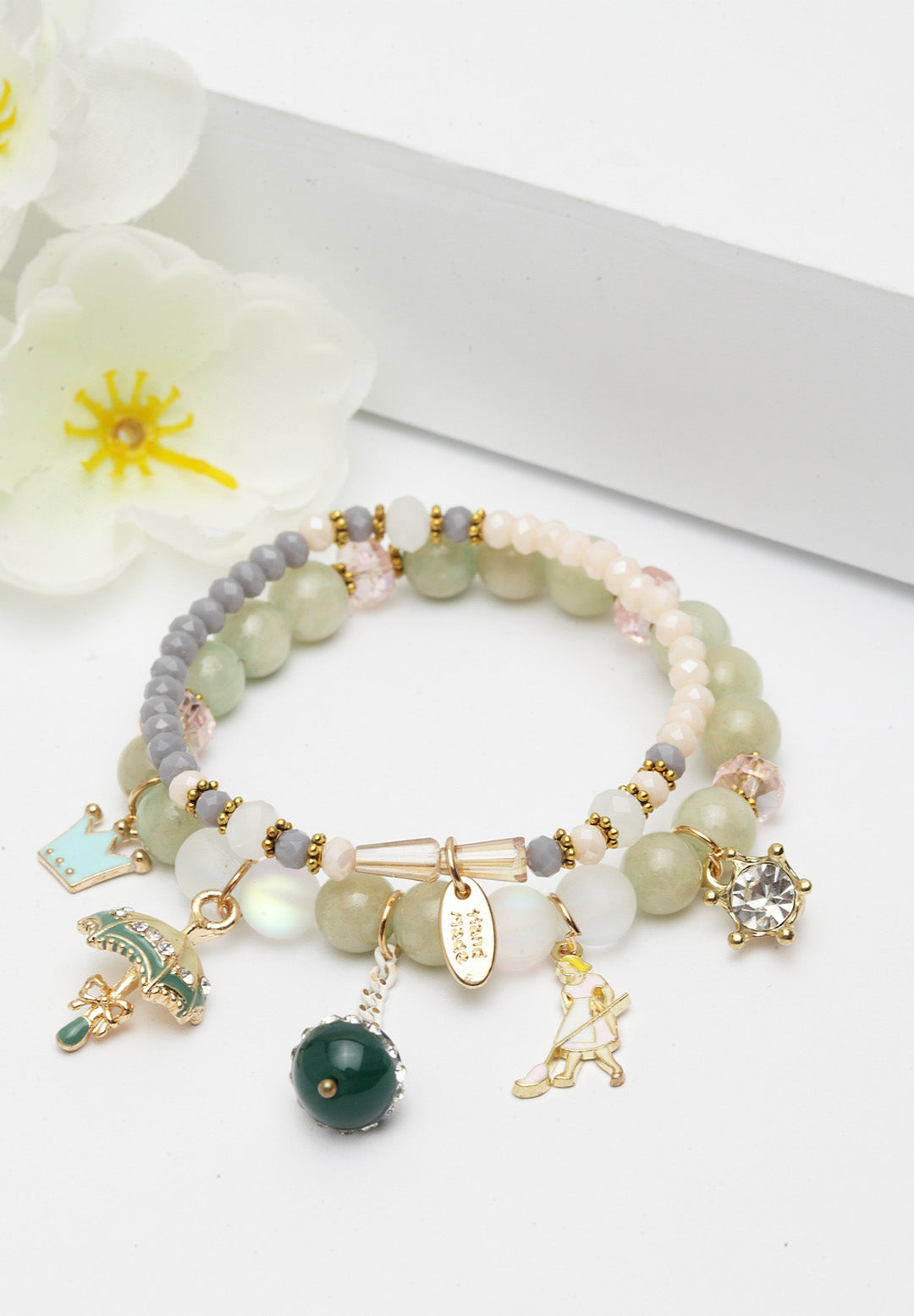 Avant-Garde Paris Double String Pearl Bracelets With Charms