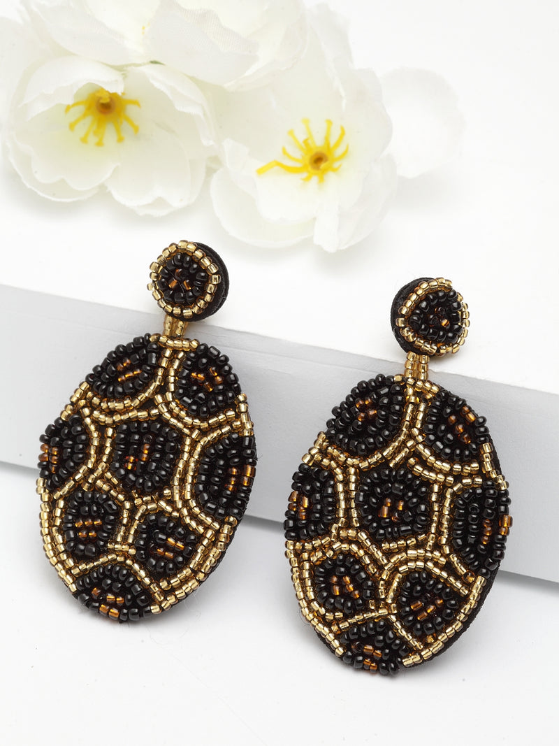 Avant-Garde Paris Statement Round Boho Beaded Drop Dangle Earrings