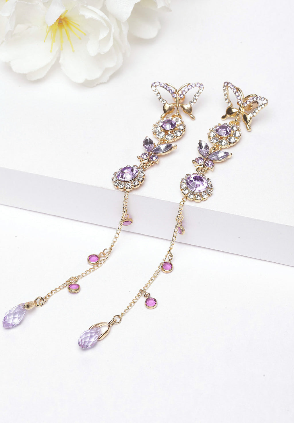Avant-Garde Paris Purple Butterfly Crystal Long Hanging Earrings