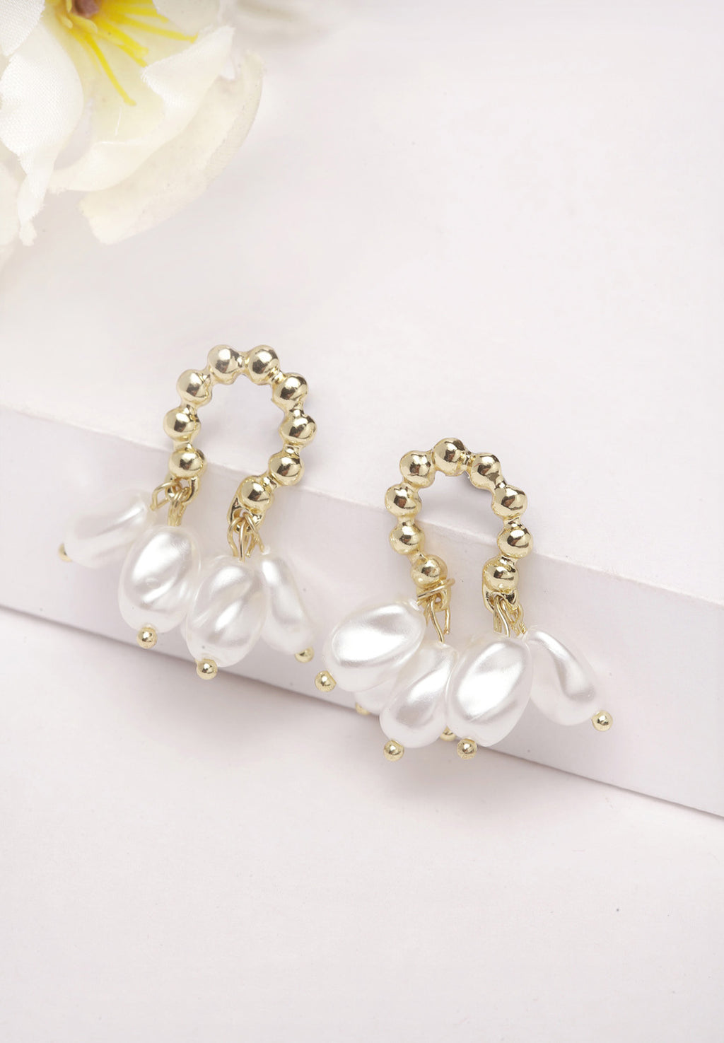 Avant-Garde Paris Gold Pearl Stud Earrings