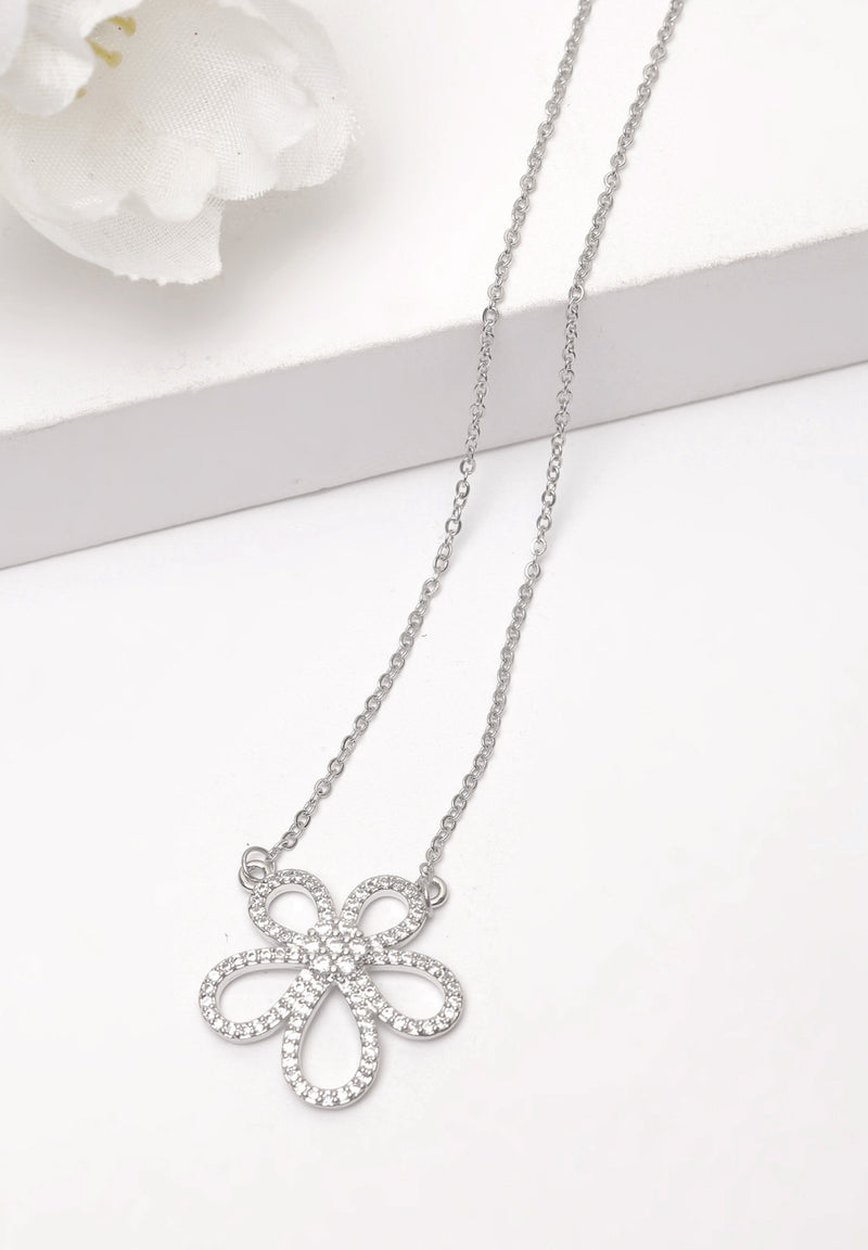 Avant-Garde Paris White Floral Crystal Necklace