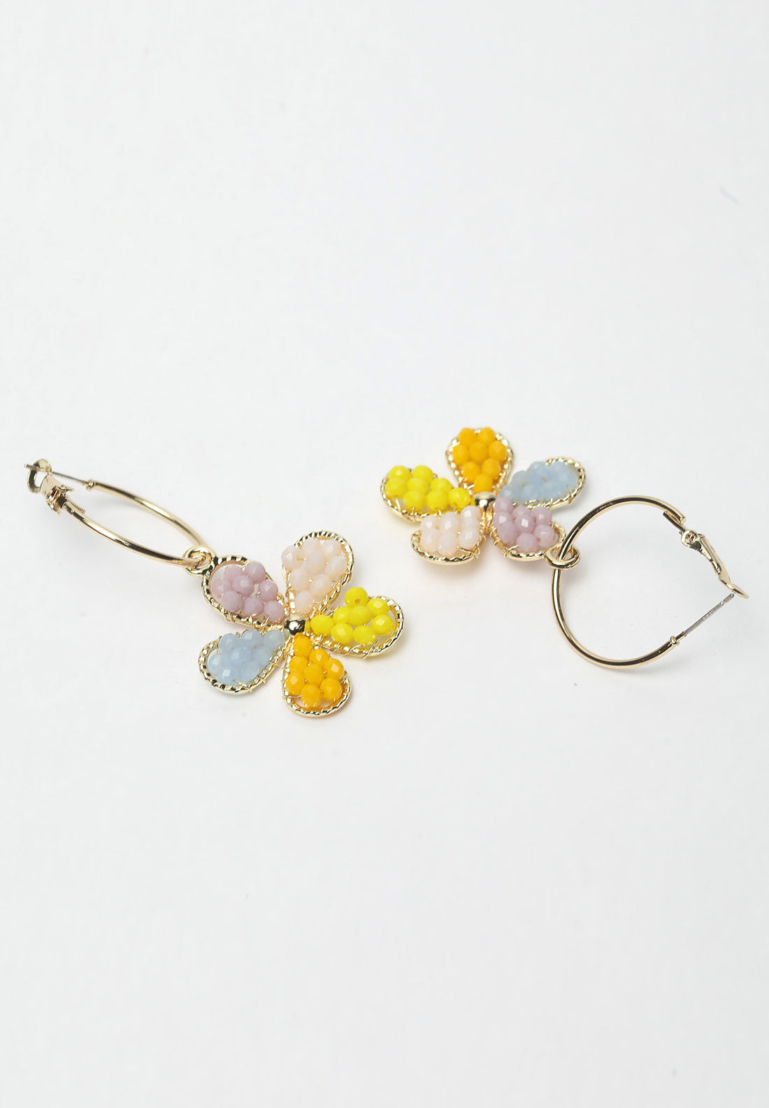 Avant-Garde Paris Multi-colored Floral Stones Hanging Earrings