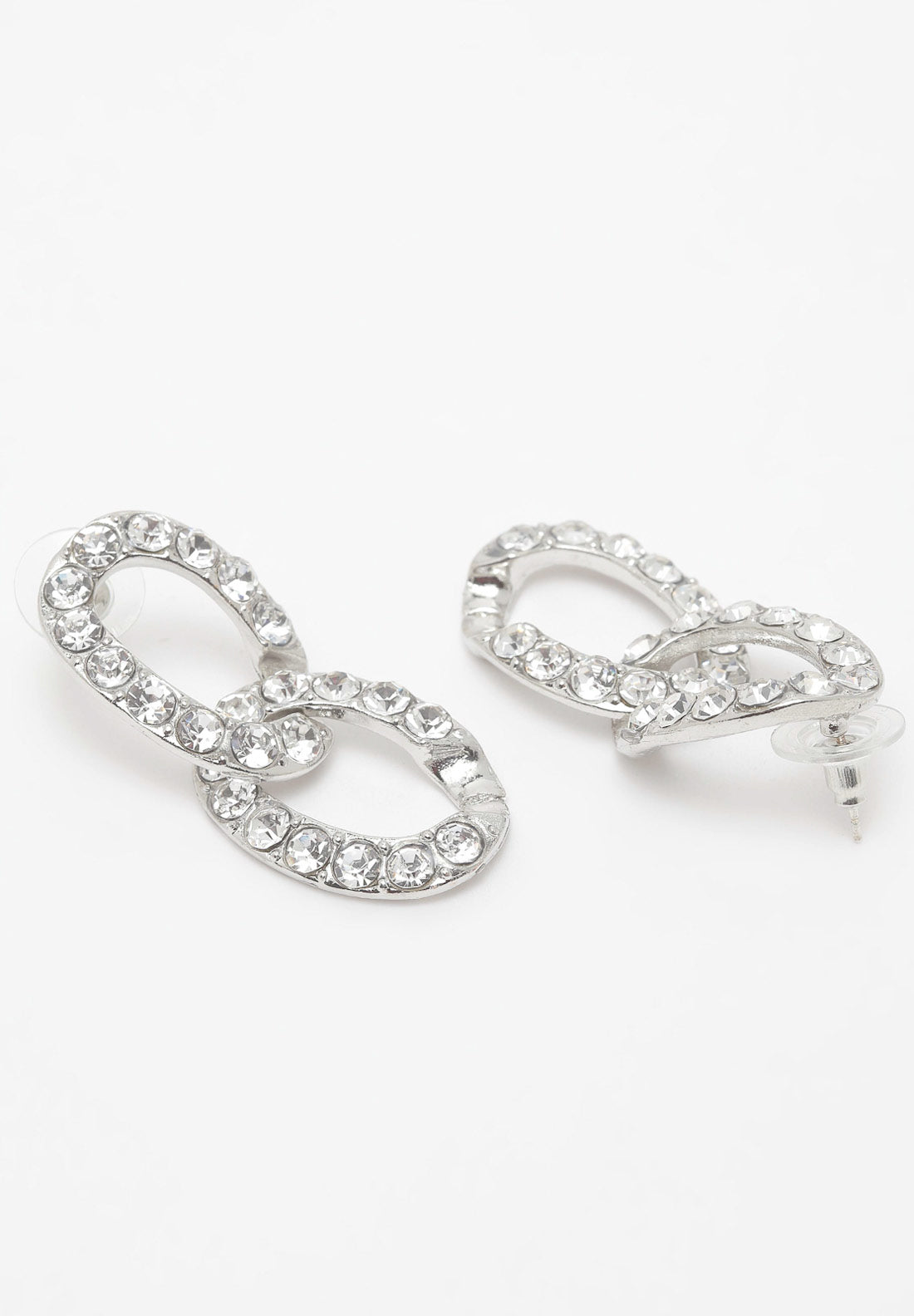 Avant-Garde Paris Silver Round Crystal Hanging Earrings