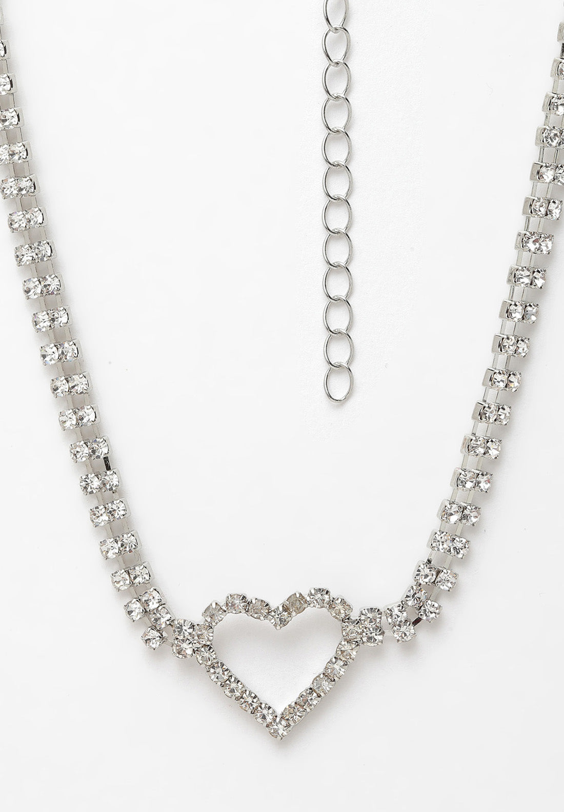 Avant-Garde Paris Silver Heart Crystal Choker Necklace