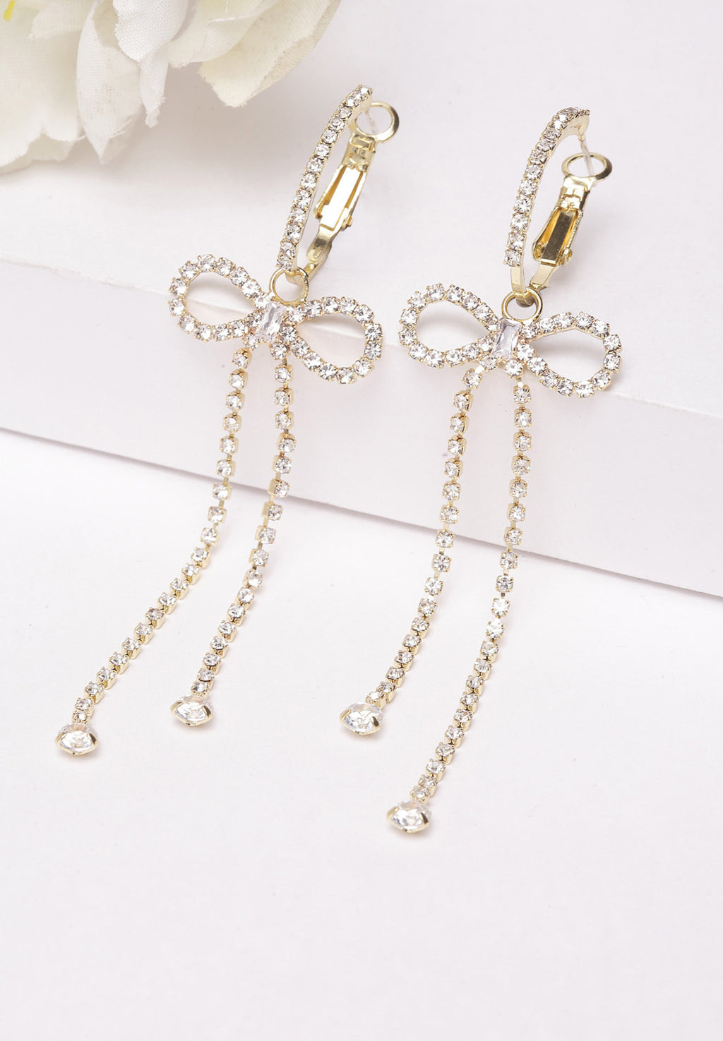 Avant-Garde Paris Bow Crystal Long Hanging Earrings