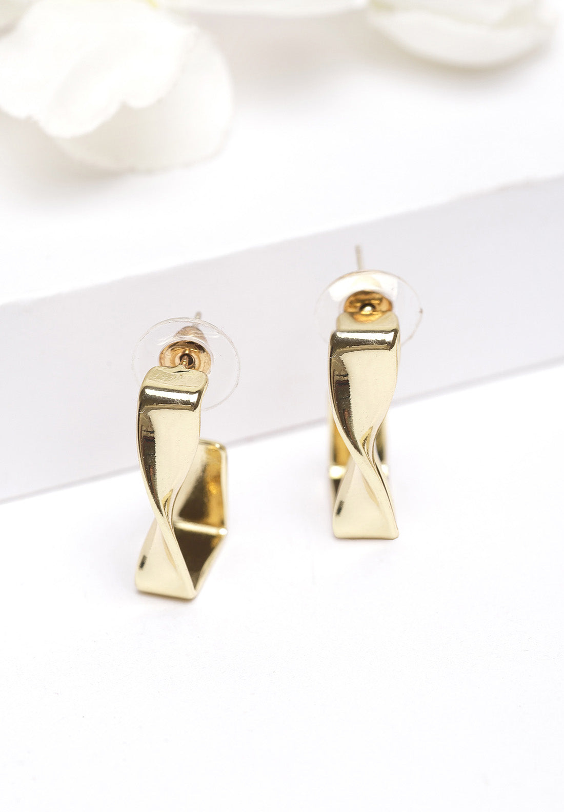 Avant-Garde Paris Metallic Gold Abstract Stud Earrings