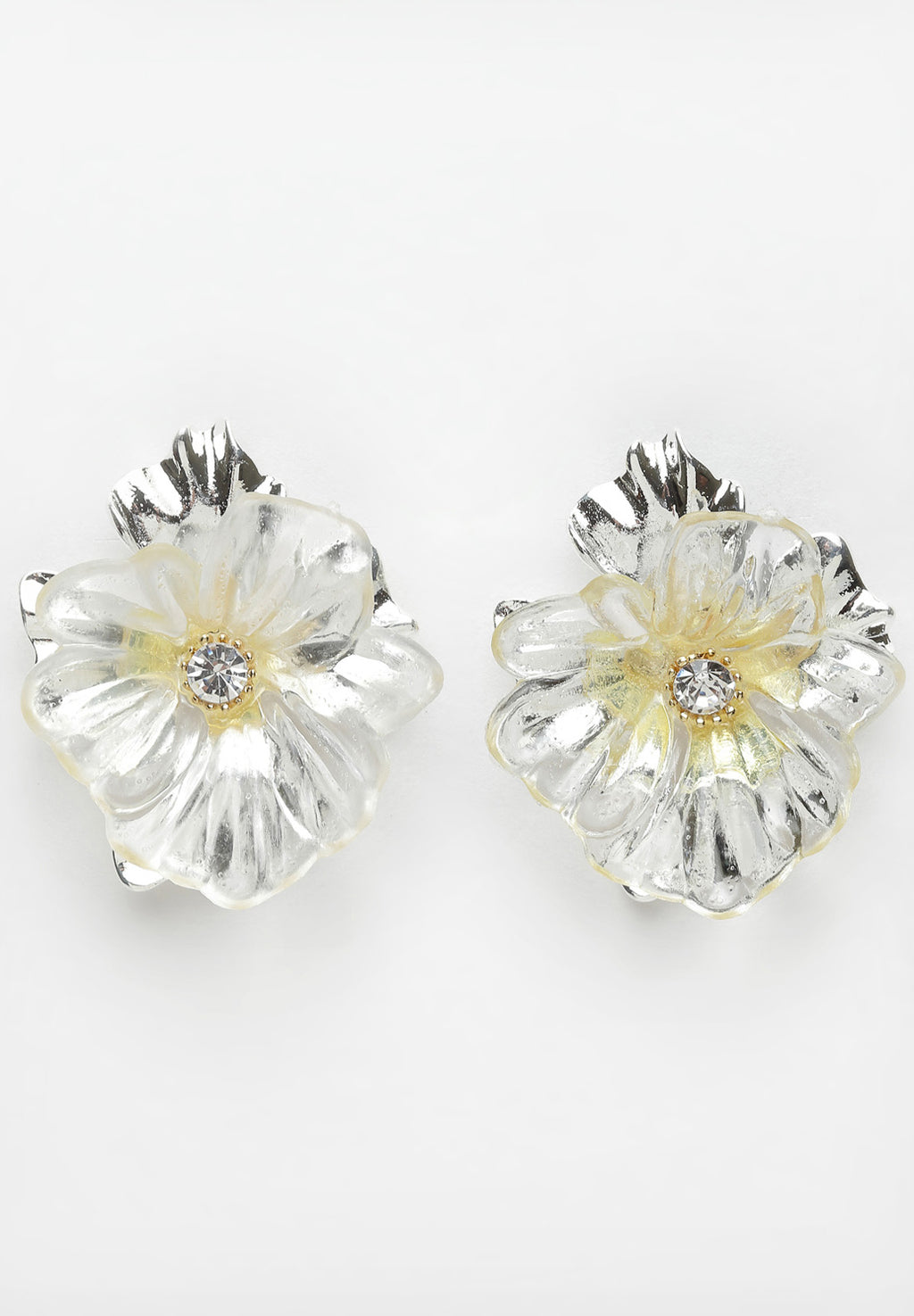 Avant-Garde Paris Silver Floral Crystal Stud Earrings