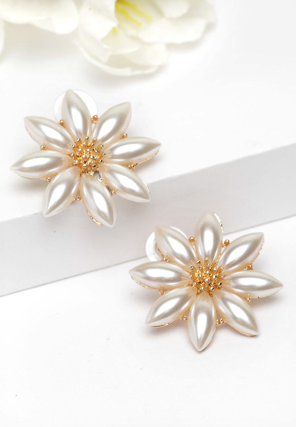 Avant-Garde Paris Gold Floral Pearl Stud Earrings