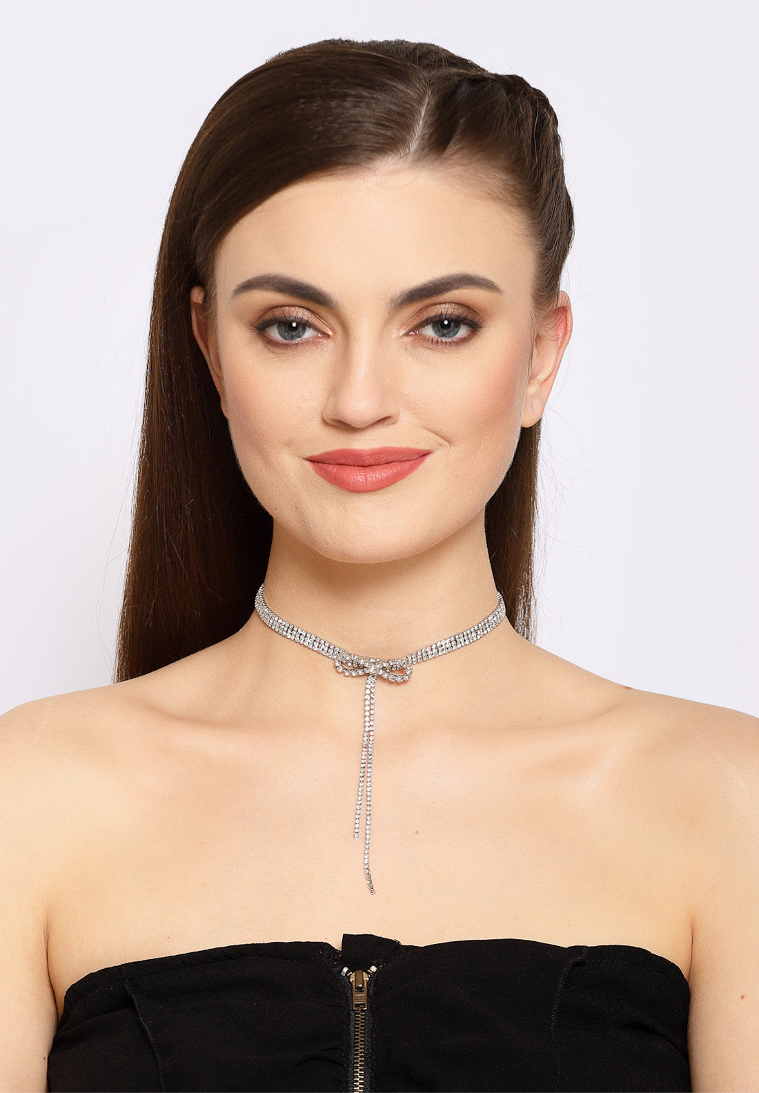 Avant-Garde Paris Bow Crystal Choker Necklace