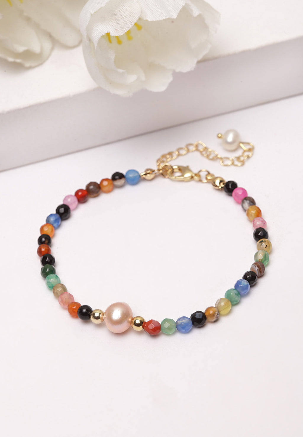 Avant-Garde Paris Multi-colored Stones Pearl Bracelet