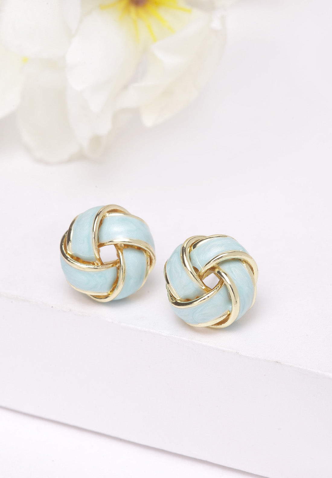 Avant-Garde Paris Gold & Blue Round Stud Earrings