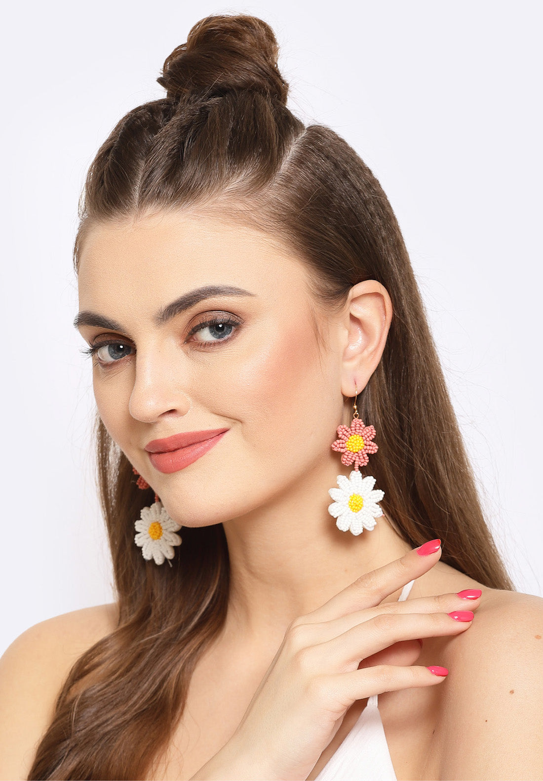 Avant-Garde Paris White & Pink Floral Beaded Earrings