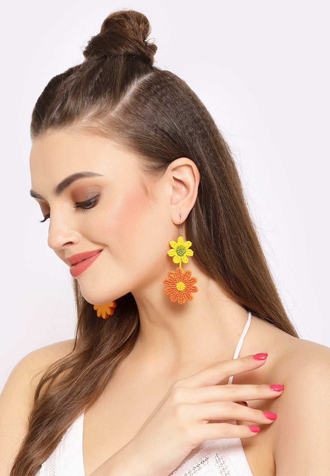 Avant-Garde Paris Yellow & Orange Floral Beaded Earrings