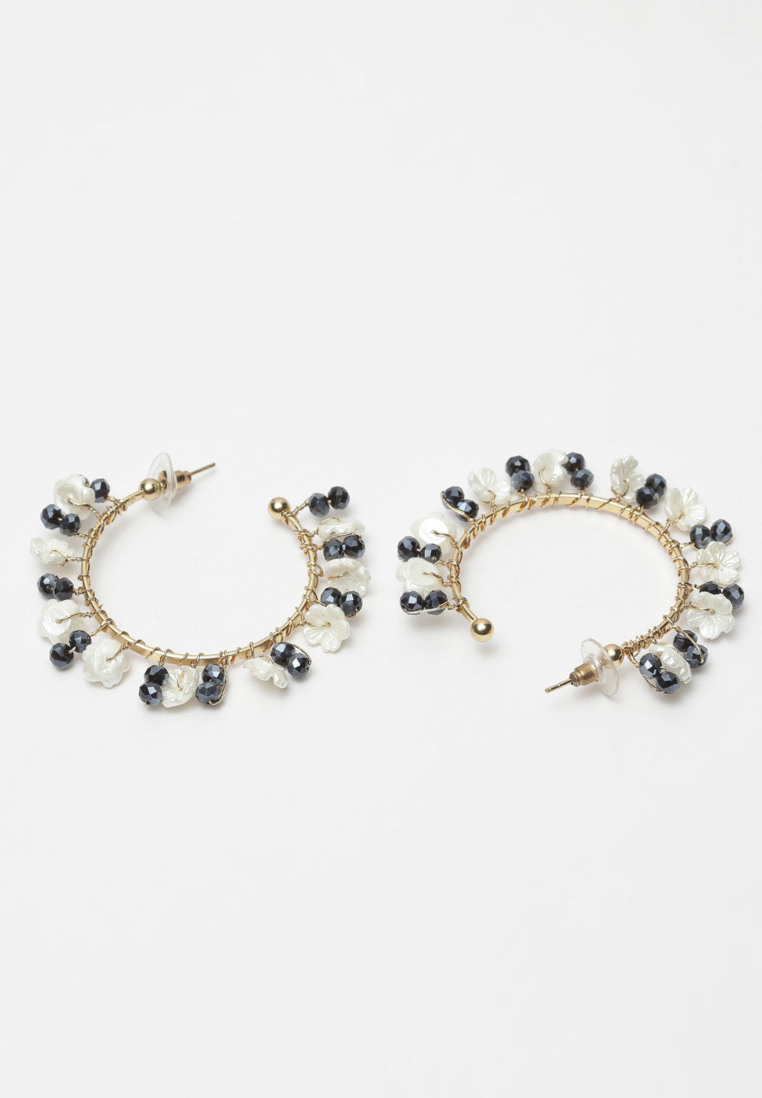 Avant-Garde Paris Black and White Beaded Hoop Earrings
