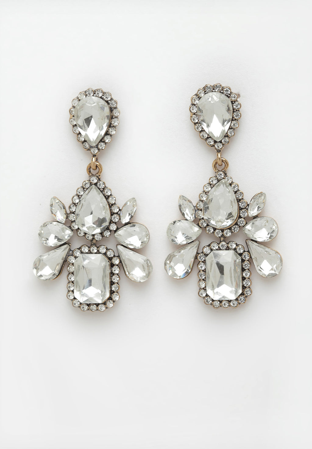 Avant-Garde Paris White Crystal Hanging Earrings