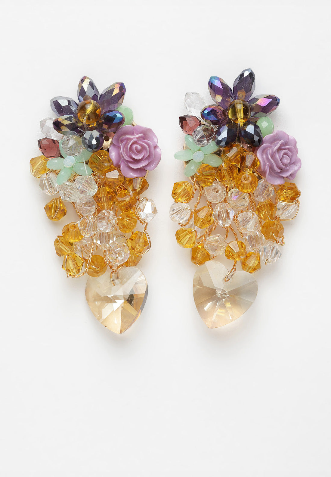 Avant-Garde Paris Multi-colored Floral Crystal Earrings