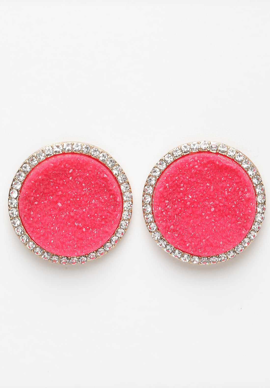 Avant-Garde Paris Pink Round Crystal Stud Earrings