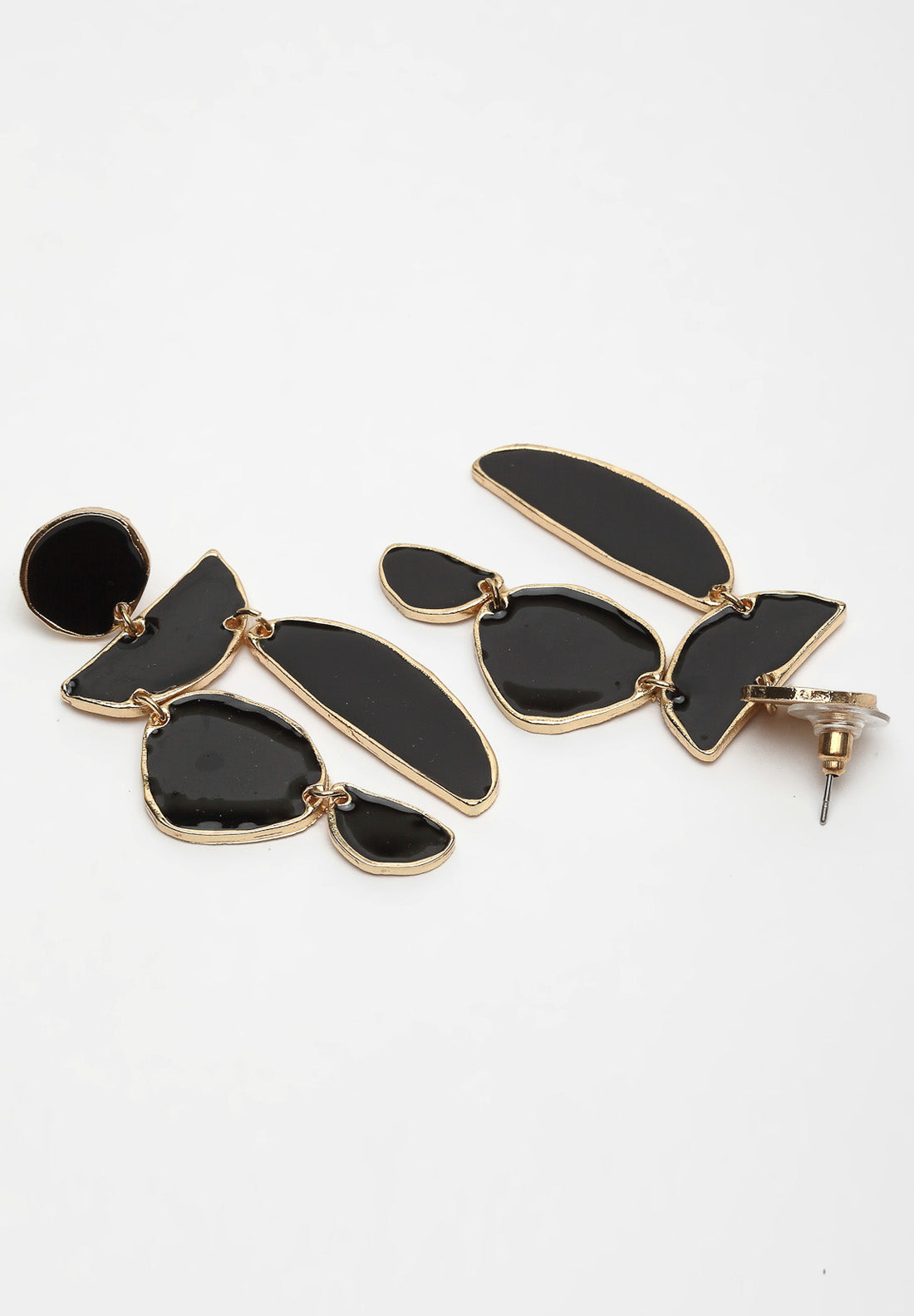 Avant-Garde Paris Gold & Black Geometric Stone Hanging Earrings
