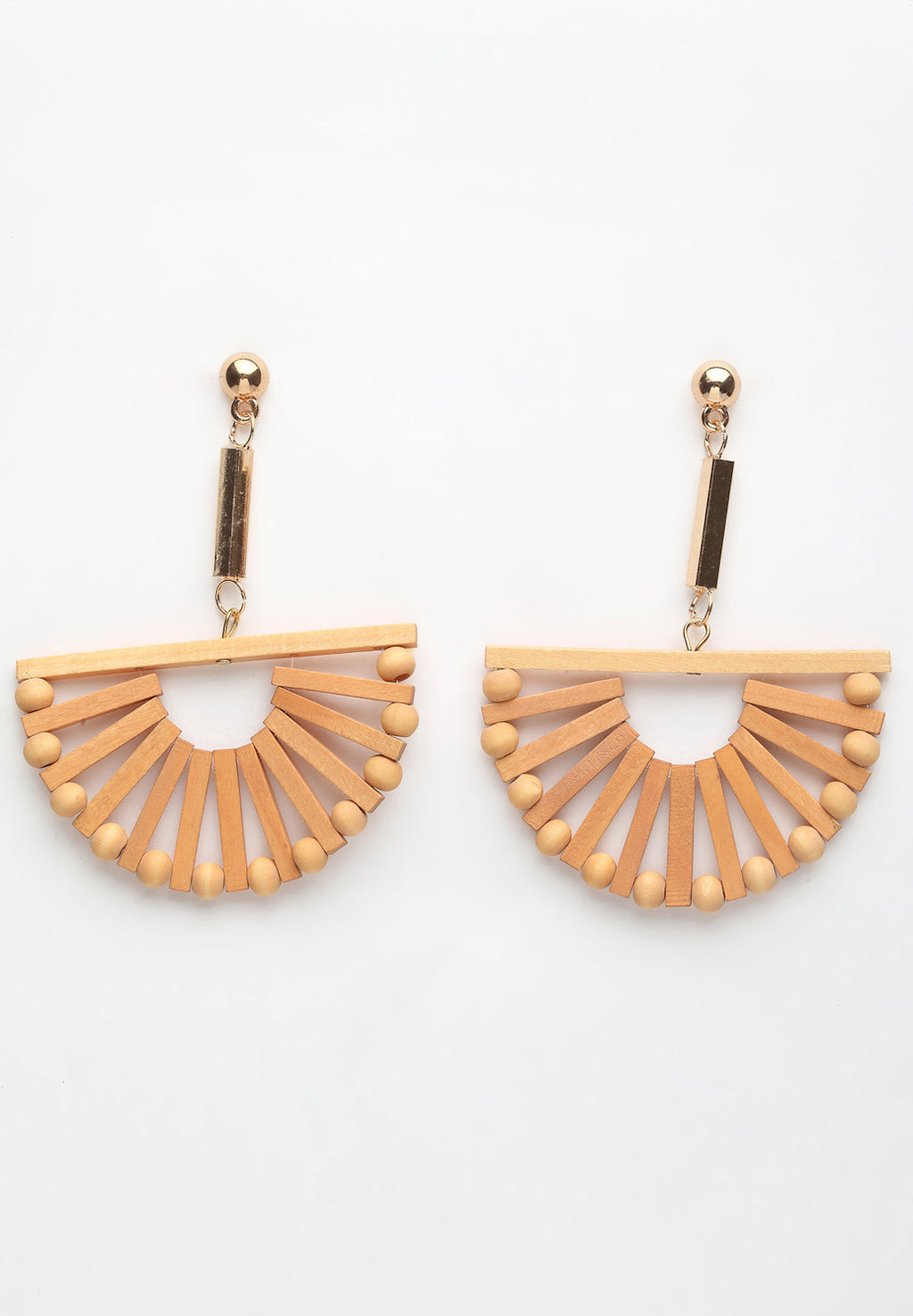 Avant-Garde Paris Beige Geometric Wooden Hanging Earrings