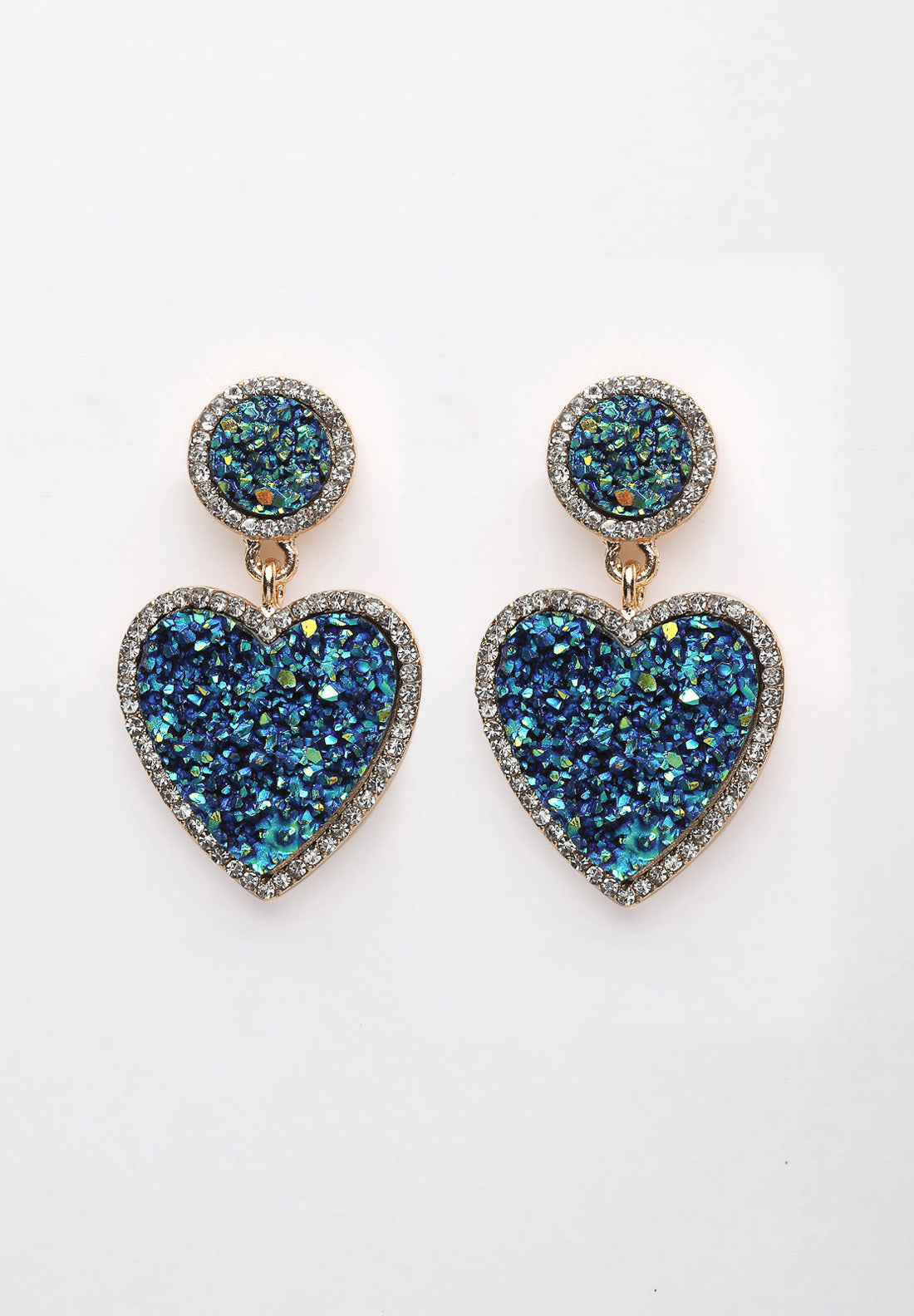 Avant-Garde Paris Green Heart Crystal Stone Earrings