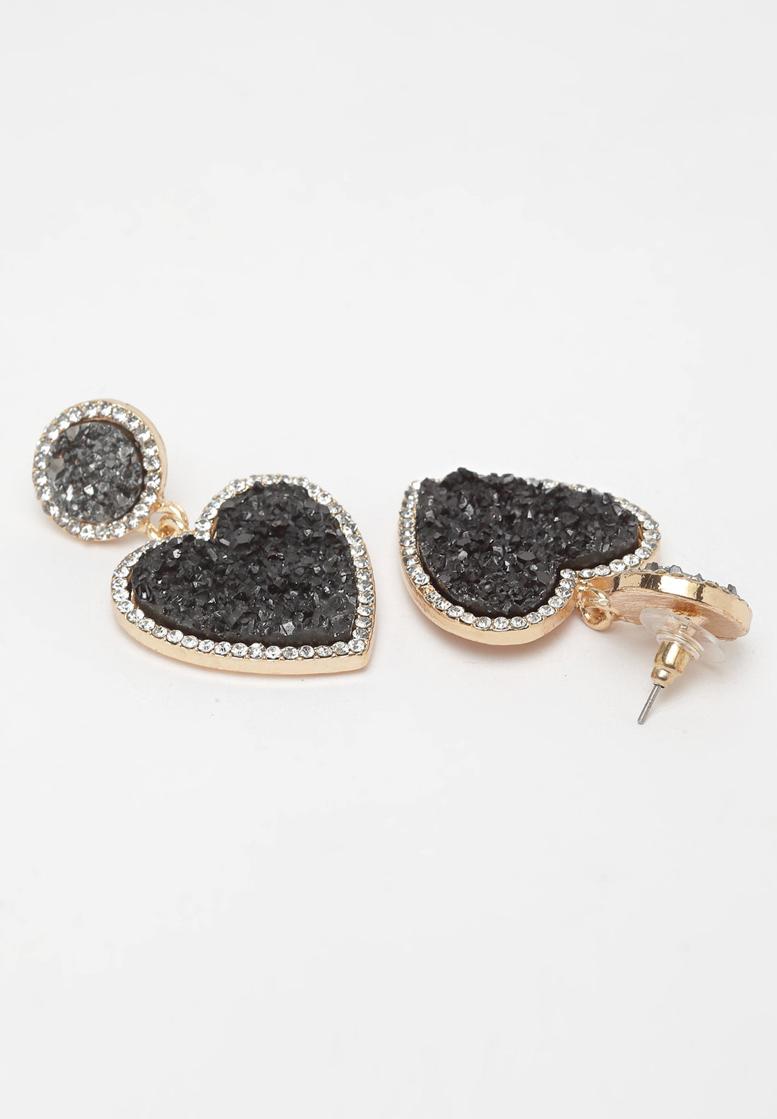 Avant-Garde Paris Black Heart Crystal Stone Earrings