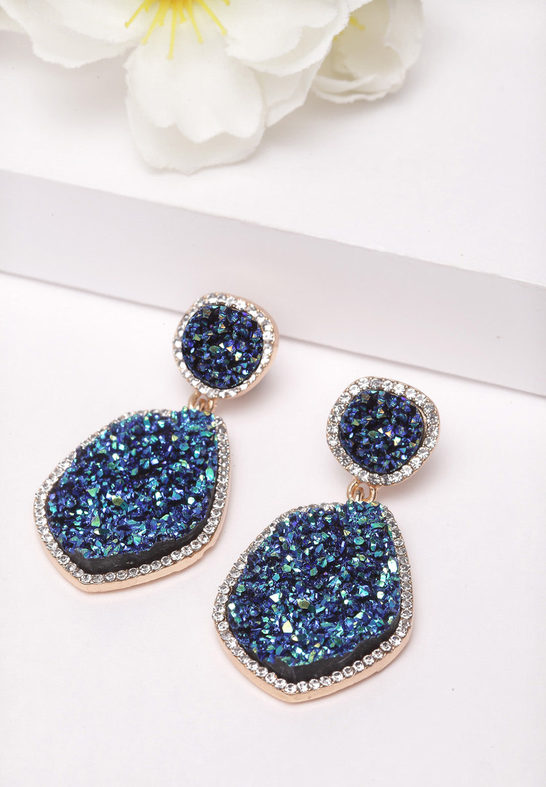 Avant-Garde Paris Blue Geometric Crystal Stone Earrings