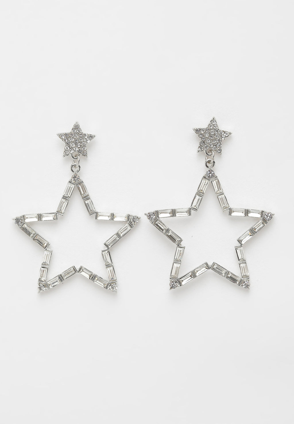 Avant-Garde Paris Silver Star Crystal Earrings