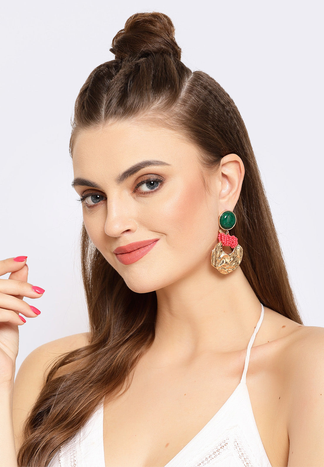 Avant-Garde Paris Multi-colored Round Metallic Hanging Earrings