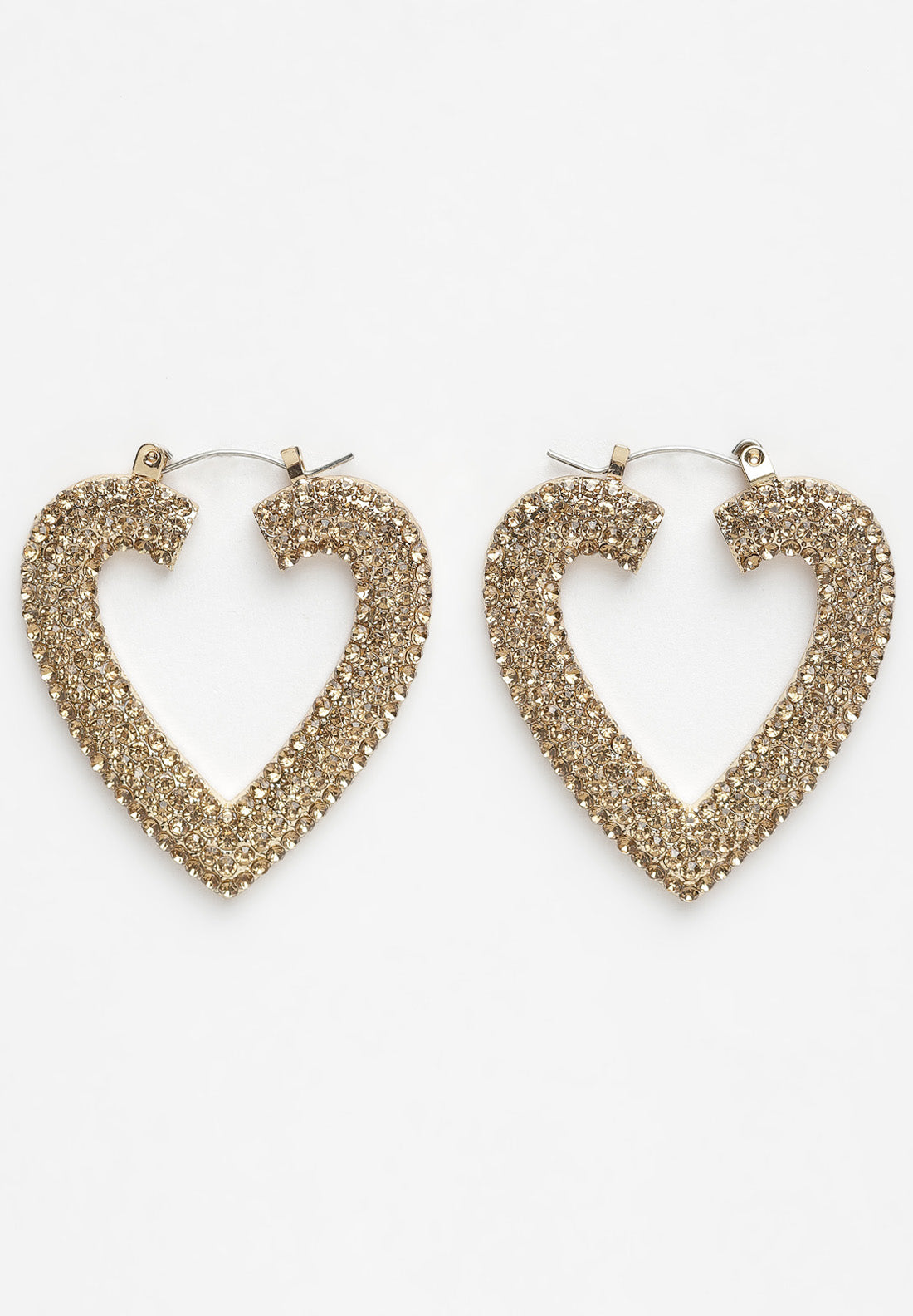 Avant-Garde Paris Gold Heart Crystal Earrings
