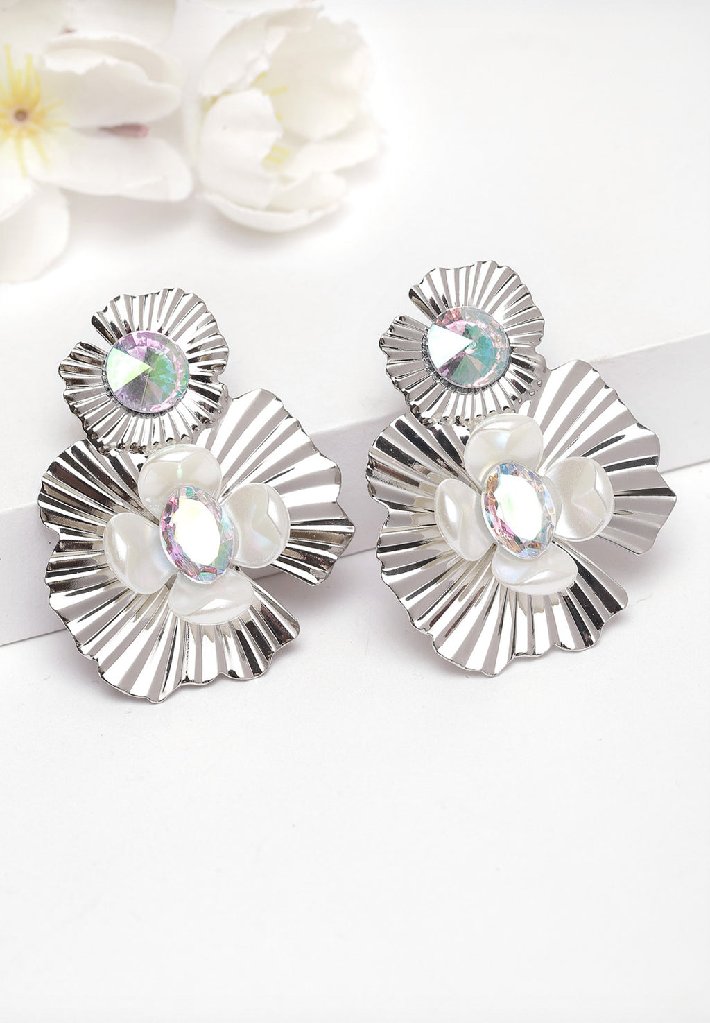 Avant-Garde Paris Silver Floral Crystal Earrings