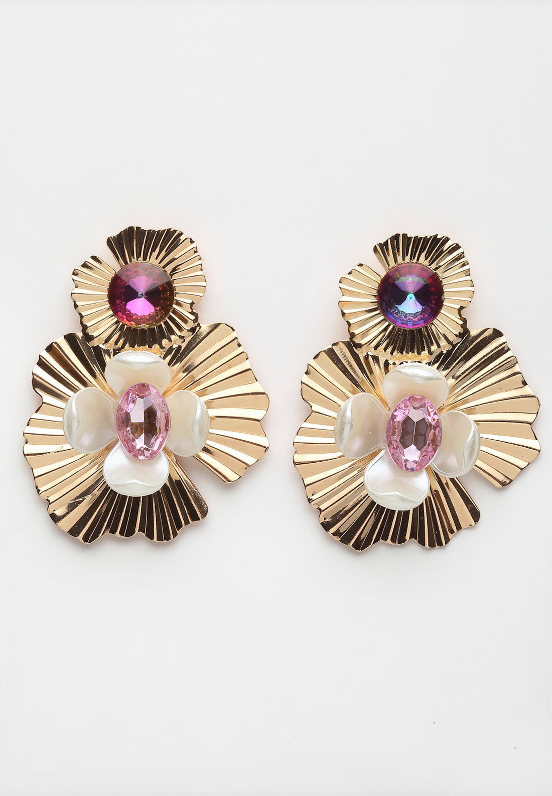 Avant-Garde Paris Gold Floral Crystal Earrings