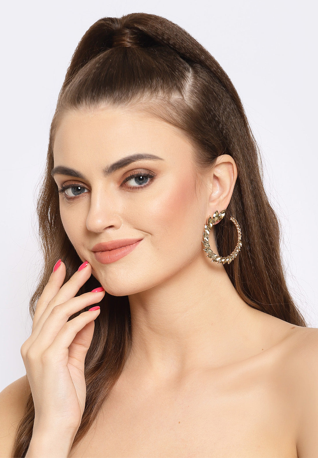 Avant-Garde Paris Gold Round Crystal Stud Earrings