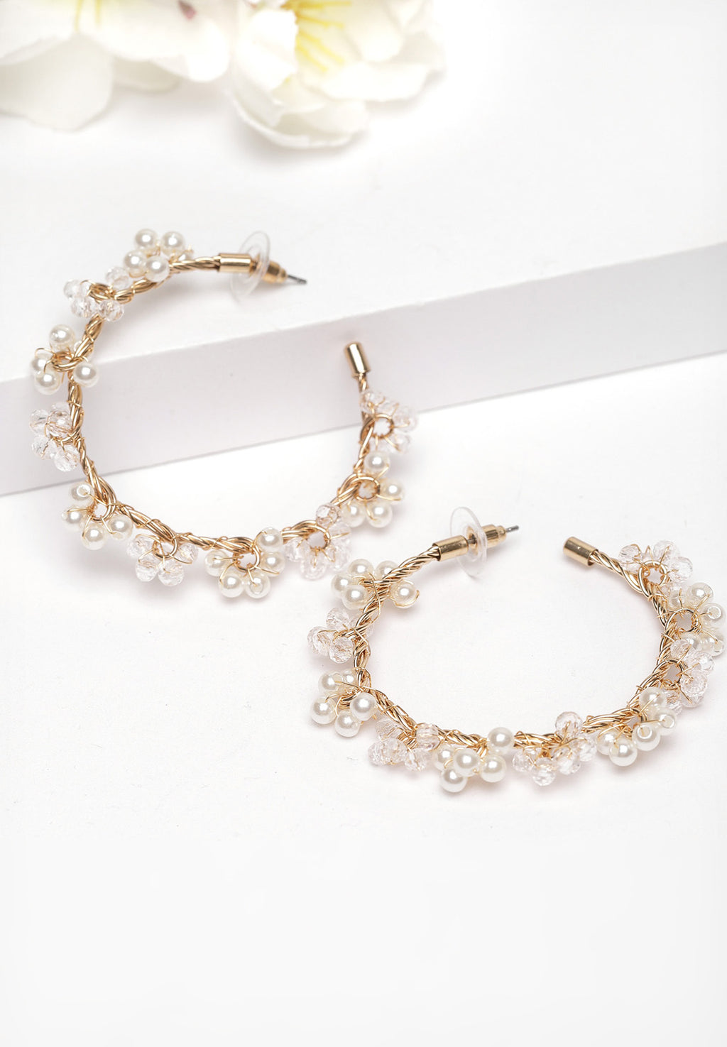 Avant-Garde Paris Gold Round Crystal Hoop Earrings